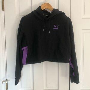 Puma Black Cropped Hooded Sweatshirt